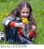 Купить «Девочка разглядывает желтые одуванчики», фото № 2572810, снято 2 июня 2011 г. (c) RedTC / Фотобанк Лори
