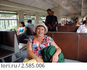 Купить «Портрет женщины средних лет в вагоне электропоезда», фото № 2585006, снято 9 июля 2010 г. (c) Анна Мартынова / Фотобанк Лори