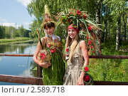 Купить «Девушки в костюмах из цветов, фестиваль флористики «Цветень»», фото № 2589718, снято 4 июля 2010 г. (c) ElenArt / Фотобанк Лори