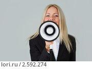 Купить «Деловая женщина с рупором», фото № 2592274, снято 20 марта 2019 г. (c) Иван Михайлов / Фотобанк Лори