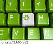 Купить «Зеленая клавиатура с кнопкой переработки», иллюстрация № 2606882 (c) Юдин Владимир / Фотобанк Лори
