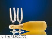 Бутылка шампанского с бокалами. Стоковое фото, фотограф Elnur / Фотобанк Лори