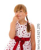 Купить «Девочка ковыряет в носу», фото № 2621270, снято 25 июня 2011 г. (c) Ольга Сапегина / Фотобанк Лори