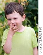 Купить «3-летний мальчик ковыряет в носу», фото № 2632190, снято 26 июня 2011 г. (c) Юлия Шилова / Фотобанк Лори