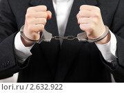 Купить «Стальные наручники на руках бизнесмена или чиновника - ограничение свободы преступников при аресте или задержании полицией», фото № 2632922, снято 18 мая 2011 г. (c) Илья Андриянов / Фотобанк Лори