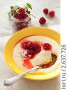 Купить «Манная каша со спелой малиной», фото № 2637726, снято 4 июля 2011 г. (c) Лисовская Наталья / Фотобанк Лори