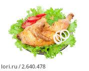 Жареная курица на блюде с салатом. Стоковое фото, фотограф Дмитрий Сечин / Фотобанк Лори