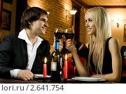 Купить «Пара в ресторане», фото № 2641754, снято 23 сентября 2018 г. (c) Алексей Многосмыслов / Фотобанк Лори