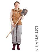Купить «Счастливая женщина с лопатой», фото № 2642978, снято 3 апреля 2011 г. (c) Яков Филимонов / Фотобанк Лори