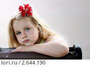 Девочка с красным цветком в волосах сидит на скамейке в парке. Стоковое фото, фотограф Елена Сикорская / Фотобанк Лори