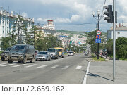 Магадан, проспект Ленина (2011 год). Редакционное фото, фотограф Владимир Сидорович / Фотобанк Лори