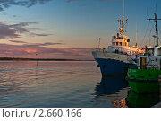 Купить «Закат на Белом море с причала в Кеми», эксклюзивное фото № 2660166, снято 19 августа 2007 г. (c) Родион Власов / Фотобанк Лори