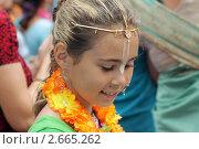 Купить «Девочка-кришнаитка на религиозном празднике», фото № 2665262, снято 17 июля 2011 г. (c) Ольга Рындина / Фотобанк Лори