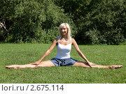 Купить «Девушка выполняет гимнастическое упражнения на траве», фото № 2675114, снято 21 июля 2011 г. (c) Михаил Иванов / Фотобанк Лори