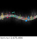 Разноцветные ноты на черном фоне. Стоковая иллюстрация, иллюстратор Digifuture / Фотобанк Лори