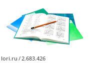 Купить «Тетради и учебник по математике», фото № 2683426, снято 27 июля 2011 г. (c) Ласточкин Евгений / Фотобанк Лори