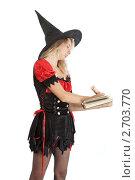 Купить «Юная колдунья делает пометки в книге заклинаний. Девочка-подросток в карнавальном костюме волшебницы», фото № 2703770, снято 27 июля 2011 г. (c) Сергей Дубров / Фотобанк Лори