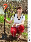 Купить «Молодая женщина с лопатой на даче», фото № 2715710, снято 8 мая 2011 г. (c) Яков Филимонов / Фотобанк Лори