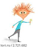 Человек несет цветок. Стоковая иллюстрация, иллюстратор Валерия Ходжаева / Фотобанк Лори