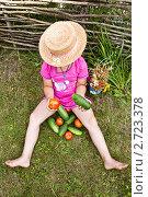 Купить «Девочка в соломенной шляпке сидит с недавно собранным урожаем», фото № 2723378, снято 14 августа 2011 г. (c) Ольга Аристова / Фотобанк Лори