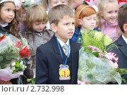 Купить «Первоклассник на торжественной линейке 1 сентября», фото № 2732998, снято 1 сентября 2010 г. (c) Оксана Лычева / Фотобанк Лори