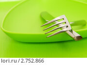Купить «Зеленая тарелка с вилкой и ножом на столе», фото № 2752866, снято 26 апреля 2010 г. (c) Elnur / Фотобанк Лори