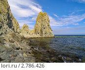 Купить «Морской пейзаж со скалистым берегом», фото № 2786426, снято 5 сентября 2010 г. (c) Олег Рубик / Фотобанк Лори