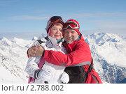 Купить «Пожилая пара горнолыжников на фоне гор. Зельден, Австрия», фото № 2788002, снято 27 января 2011 г. (c) Николай Коржов / Фотобанк Лори
