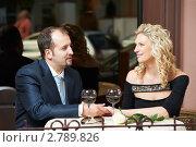 Купить «Мужчина с женщиной в кафе», фото № 2789826, снято 18 октября 2018 г. (c) Дмитрий Калиновский / Фотобанк Лори