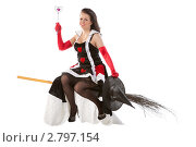 Купить «Молодая ведьма летит на метле», фото № 2797154, снято 13 августа 2011 г. (c) Сергей Дубров / Фотобанк Лори