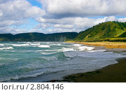 Купить «Штормовое море у побережья острова Кунашир, Курильская гряда», фото № 2804146, снято 18 марта 2018 г. (c) RedTC / Фотобанк Лори