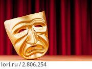 Купить «Золотистая театральная маска», фото № 2806254, снято 4 мая 2011 г. (c) Elnur / Фотобанк Лори