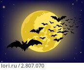 Летучие мыши на фоне Луны, Хеллоуин, рисунок. Стоковая иллюстрация, иллюстратор Сергей Павлов / Фотобанк Лори