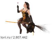 Купить «Молодая ведьма летит на метле», фото № 2807442, снято 13 августа 2011 г. (c) Сергей Дубров / Фотобанк Лори