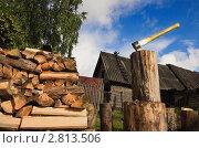 Купить «Топор в чурке и поленница дров», фото № 2813506, снято 12 сентября 2011 г. (c) Дмитрий Черевко / Фотобанк Лори