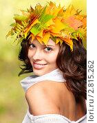 Купить «Девушка с жёлтыми листьями в парке», фото № 2815262, снято 21 сентября 2011 г. (c) Serg Zastavkin / Фотобанк Лори