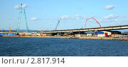Строящийся мост Седанка-Де Фриз через Амурский залив, фрагмент. Стройки саммита АТЭС. (2011 год). Редакционное фото, фотограф Елена Семистенова / Фотобанк Лори