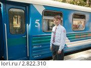 Купить «Проводник детской железной дороги», фото № 2822310, снято 15 октября 2019 г. (c) Зубко Юрий / Фотобанк Лори
