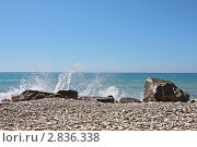 Купить «Морской прибой на черноморском пляже», фото № 2836338, снято 30 августа 2011 г. (c) Владимир Сергеев / Фотобанк Лори