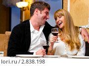 Купить «Счастливая пара в ресторане», фото № 2838198, снято 13 ноября 2019 г. (c) Сергей Петерман / Фотобанк Лори