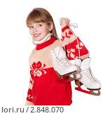 Девочка с коньками. Стоковое фото, фотограф Gennadiy Poznyakov / Фотобанк Лори