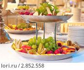 Купить «Тарелка с фруктами на столе в ресторане», фото № 2852558, снято 17 июля 2011 г. (c) IEVGEN IVANOV / Фотобанк Лори