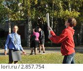 Купить «Игра в русскую лапту», эксклюзивное фото № 2857754, снято 14 сентября 2011 г. (c) Free Wind / Фотобанк Лори