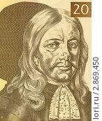 Янез Валвасор на банкноте достоинством 10 толаров. Стоковое фото, фотограф Georgios Kollidas / Фотобанк Лори