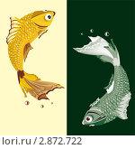 Золотая и серебряная рыба. Стоковая иллюстрация, иллюстратор Светлана Боронина / Фотобанк Лори