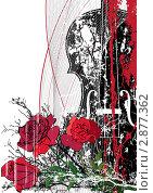 Скрипка и розы. Стоковая иллюстрация, иллюстратор Татьяна Петрова / Фотобанк Лори