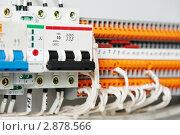 Купить «Электрическая коммутационная панель и автоматический выключатель», фото № 2878566, снято 2 июня 2020 г. (c) Дмитрий Калиновский / Фотобанк Лори