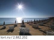 Купить «Пустой песчаный пляж», фото № 2882202, снято 30 июля 2010 г. (c) Losevsky Pavel / Фотобанк Лори