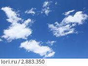 Купить «Белые пушистые облака на голубом небе», фото № 2883350, снято 6 июня 2010 г. (c) Losevsky Pavel / Фотобанк Лори