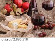 Купить «Натюрморт с красным вином, сыром и фруктами», фото № 2886518, снято 6 октября 2011 г. (c) Светлана Зарецкая / Фотобанк Лори